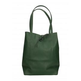 Kožená tmavě zelená shopper taška na rameno Melani Two Winter
