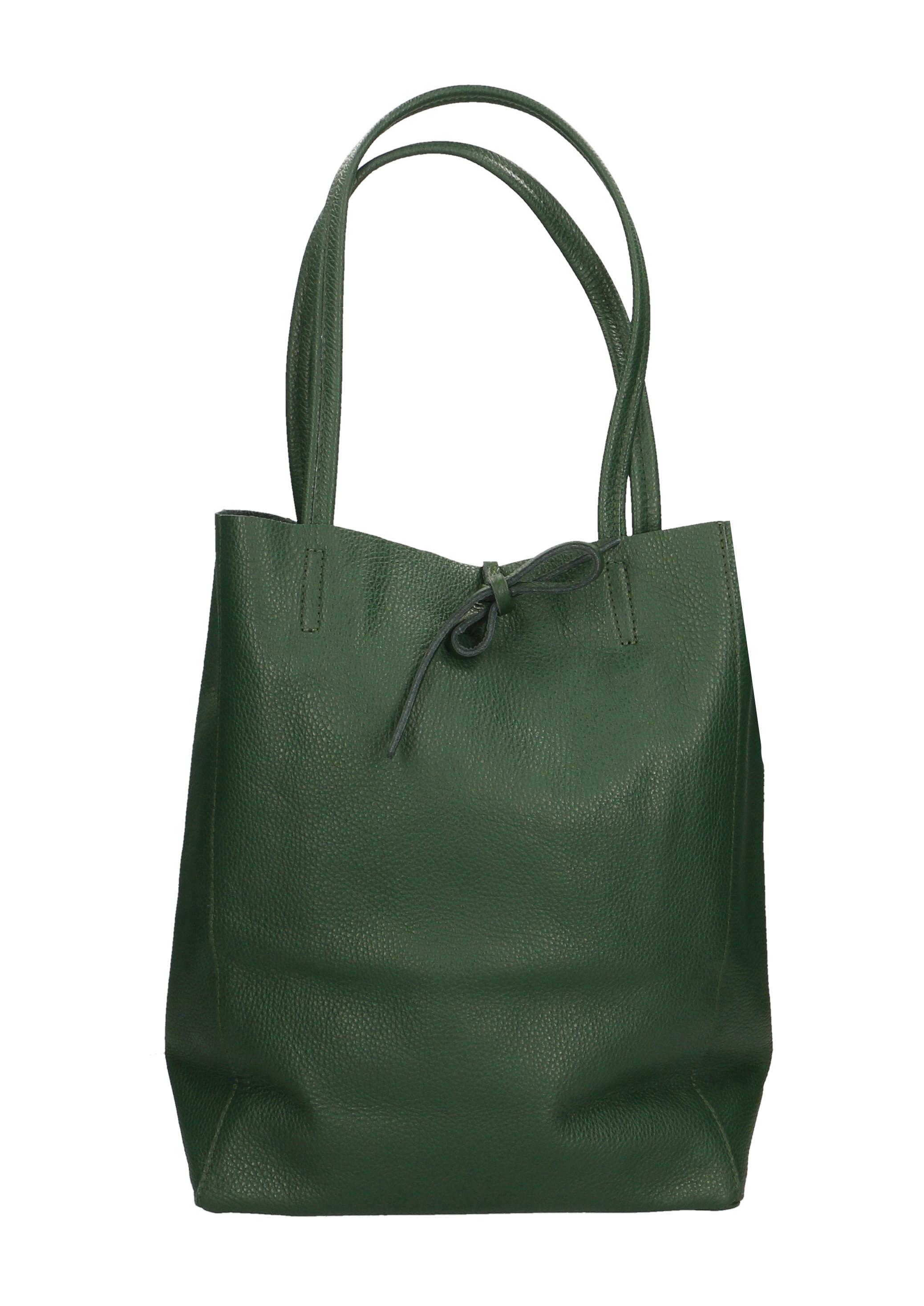 Kožená tmavo zelená shopper taška na rameno Melani Two