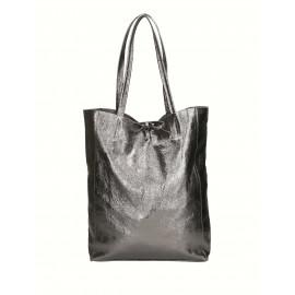 Kožená černá lesklá shopper taška na rameno Melani Two Summer