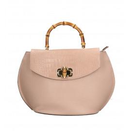 Kožená světle růžová kabelka do ruky Gabriela