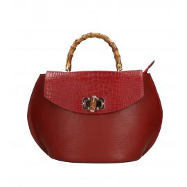 Kožená tmavě červená kabelka do ruky Gabriela