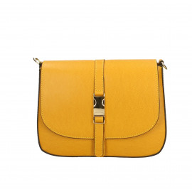 Kožená žlutá crossbody kabelka na rameno Agata