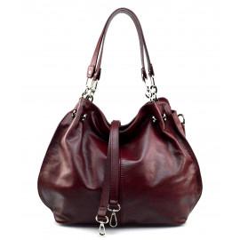 Kožená luxusní tmavě červená crossbody kabelka do ruky i přes rameno lorreine