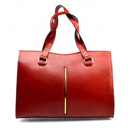 Kožená luxusní tmavě červená bordó kabelka Eleanora