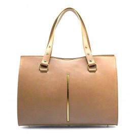 Kožená luxusní béžová taupe kabelka Eleanora