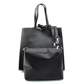 Kožená černá shopper kabelka přes rameno Tamara