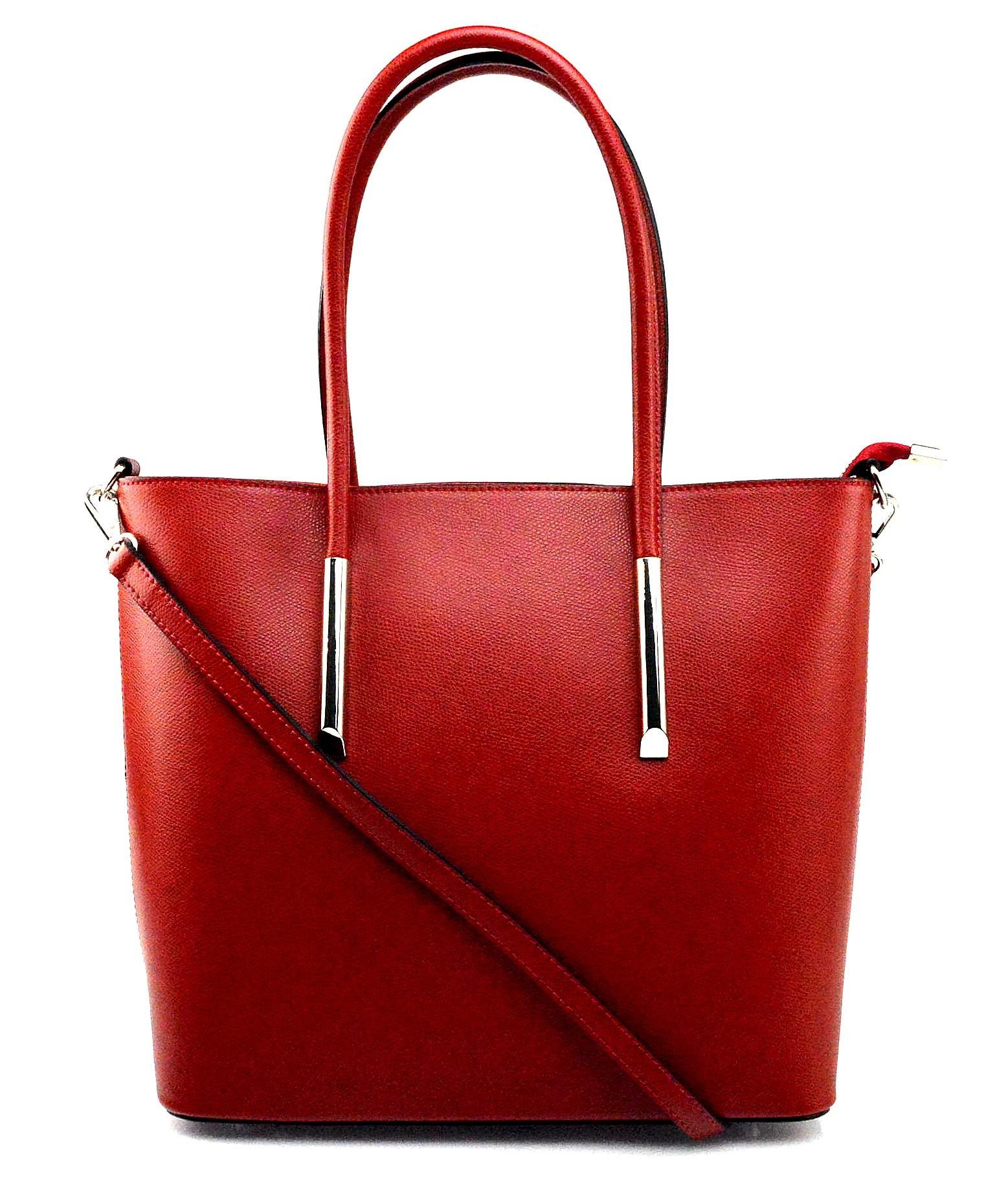 Kožená luxusní červená kabelka přes rameno cherril