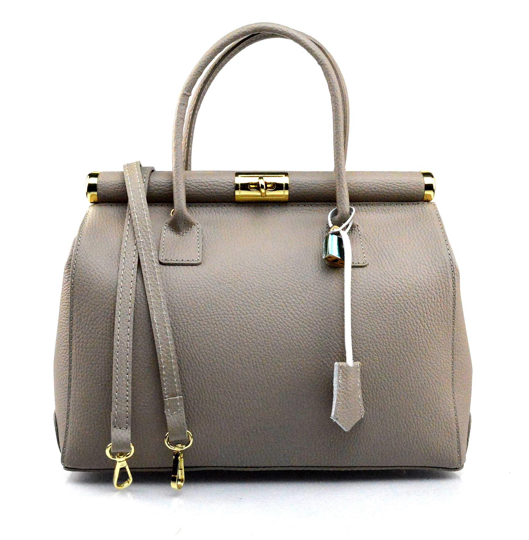Kožená luxusní béžová taupe kabelka Aliste