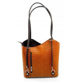 Kožená luxusní menší koňaková hnědá (tan) crossbody kabelka Royal