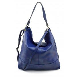 Kožená luxusní sytě modrá kabelka přes rameno Laurel