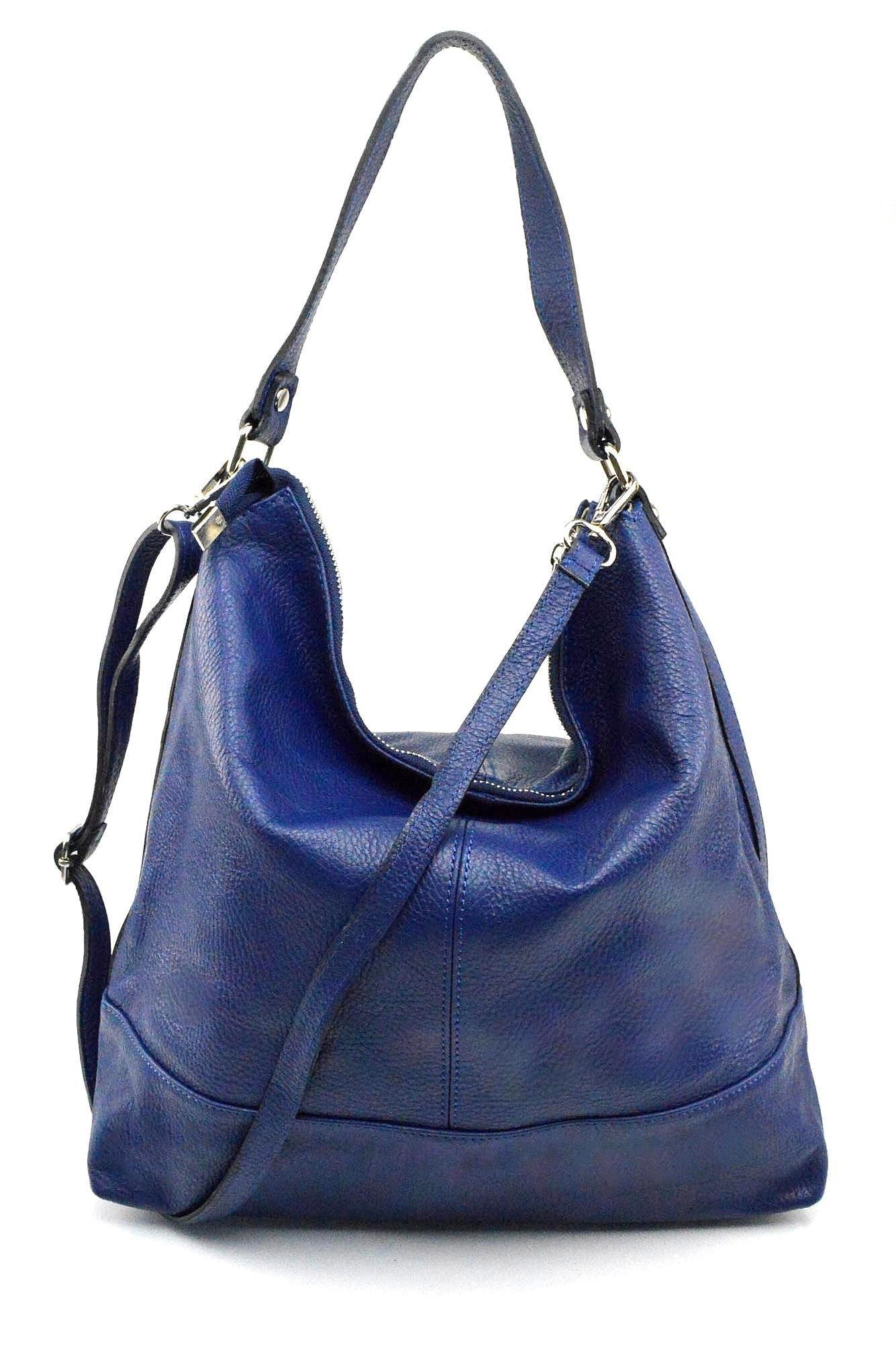 Kožená luxusní tmavě modrá kabelka přes rameno laurel