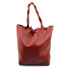 Kožená tmavě červená shopper taška na rameno Melani Two Winter