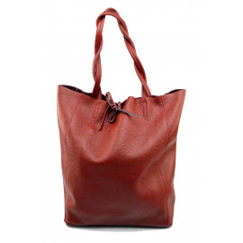 Kožená tmavě červená shopper taška na rameno Melani Two