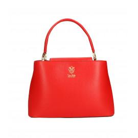 Kožená menší sytě červená kabelka do ruky Kairi