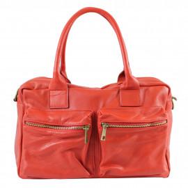 Kožená luxusní sytě červená kabelka do ruky Adina