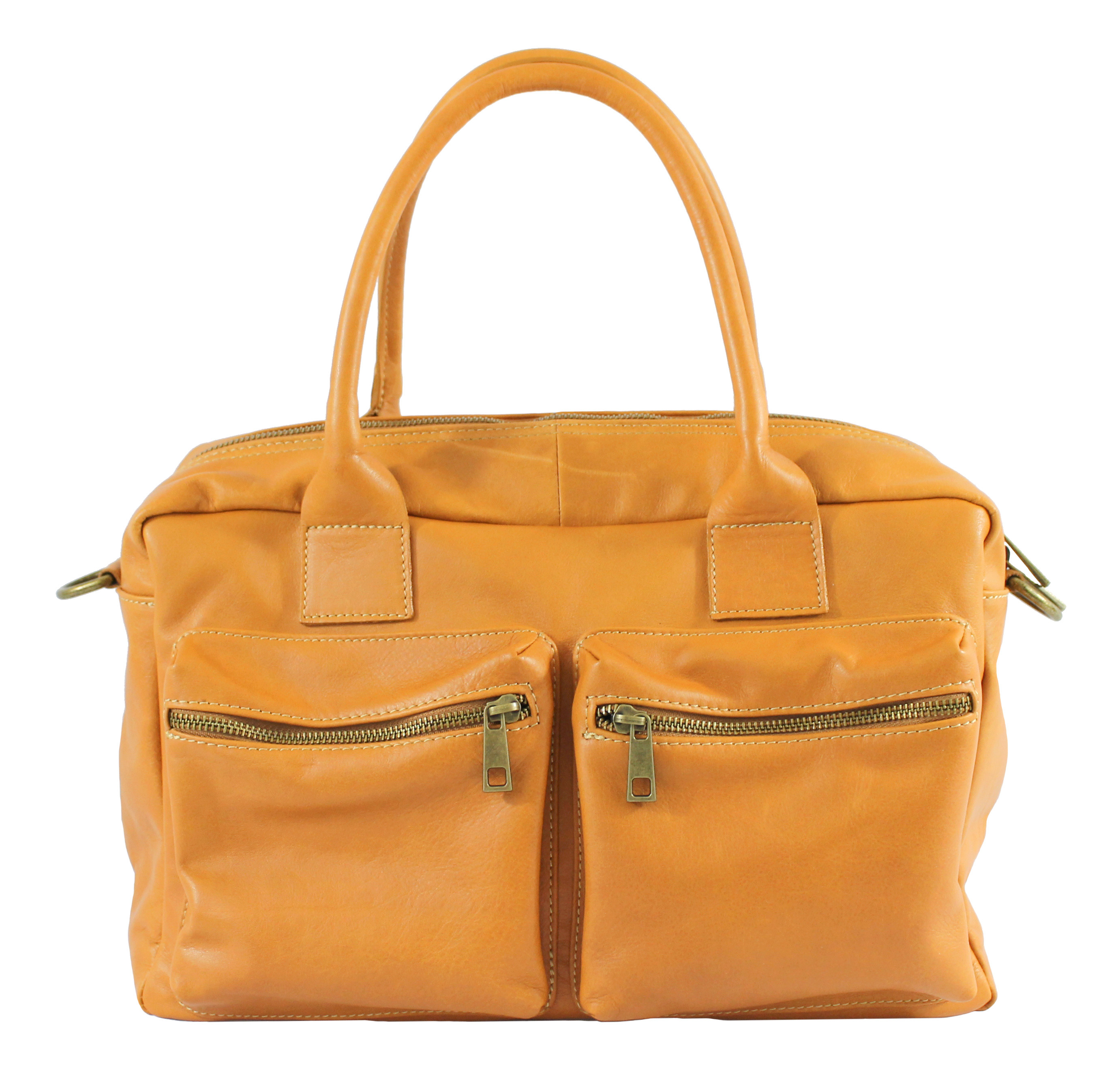 Kožená luxusní béžová taupe kabelka do ruky Adina