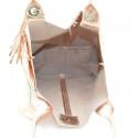 Kožená růžová lesklá shopper taška na rameno melani summer