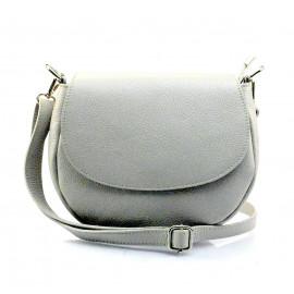 Větší praktická světle šedá kožená crossbody kabelka Lexie