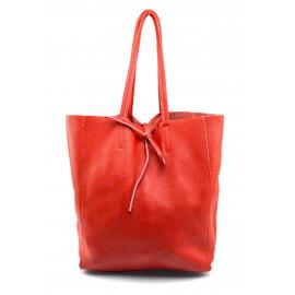 Kožená sytě červená shopper taška na rameno Melani Two Summer
