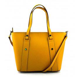 Kožená hořčicově žlutá kabelka přes rameno Emi