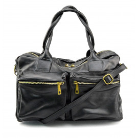 Kožená luxusní černá kabelka do ruky Adina