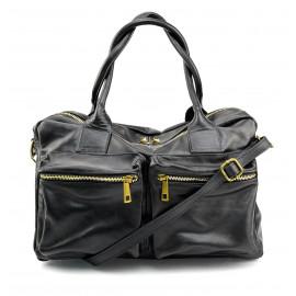Kožená luxusní tmavě modrá kabelka do ruky Adina