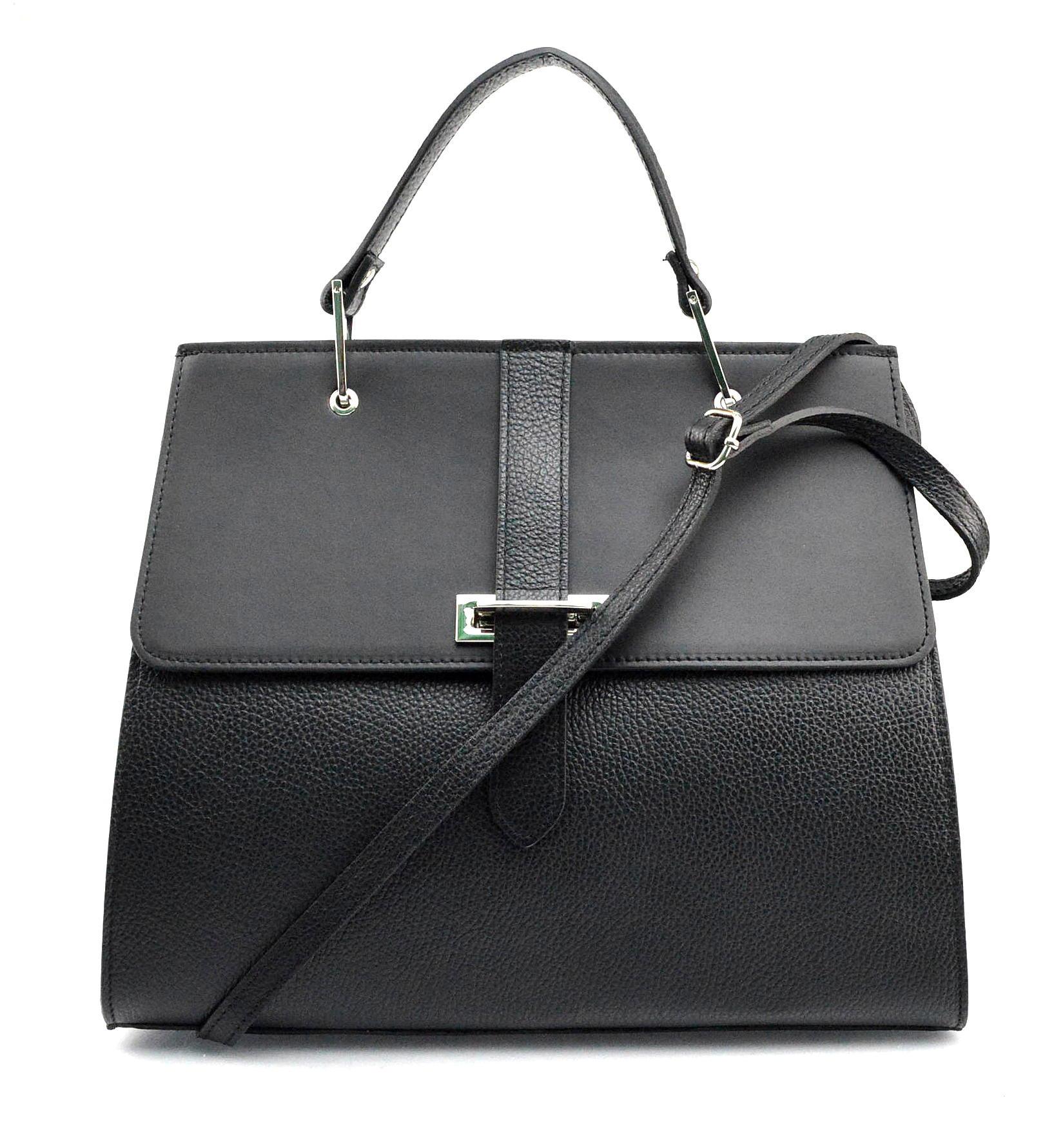 Kožená luxusní černá kabelka do ruky adeline