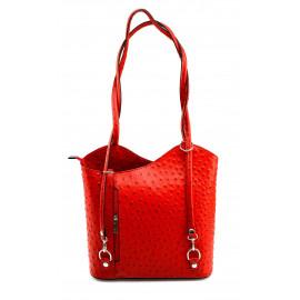 Kožená luxusní sytě červená crossbody kabelka Royal