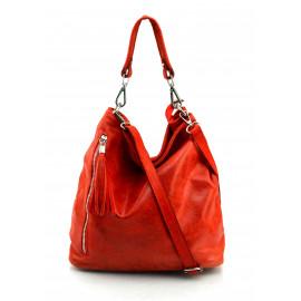 Kožená červená bordó crossbody kabelka na rameno galine