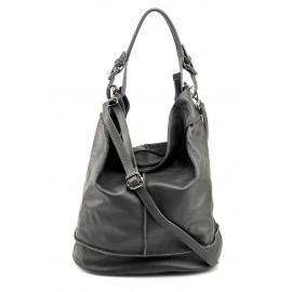 Větší stylová tmavě šedá kožená kabelka přes rameno Adele Two