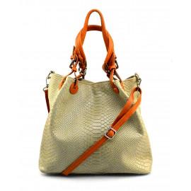 Kožená béžová kabelka do ruky Madeleine Three