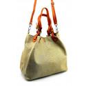 Kožená béžová kabelka na rameno madeleine two