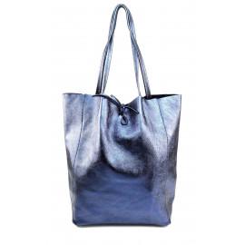 Kožená jeansově modrá lesklá shopper taška na rameno Melani Two Summer