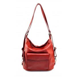 Praktická kožená tmavě červená kabelka a batoh 2v1 Karin