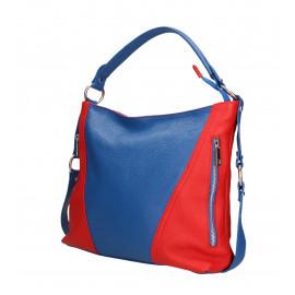 Kožená luxusní větší sytě modrá s červenou kabelka přes rameno Claudine