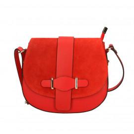 Kožená menší sytě červená crossbody kabelka na rameno Jordane Two