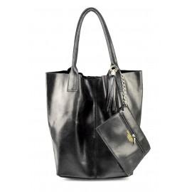 Kožená černá shopper taška na rameno melani