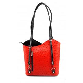Kožená luxusní sytě červená s černou crossbody kabelka Royal