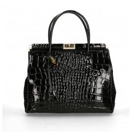Kožená luxusní černá kabelka do ruky Nathalie
