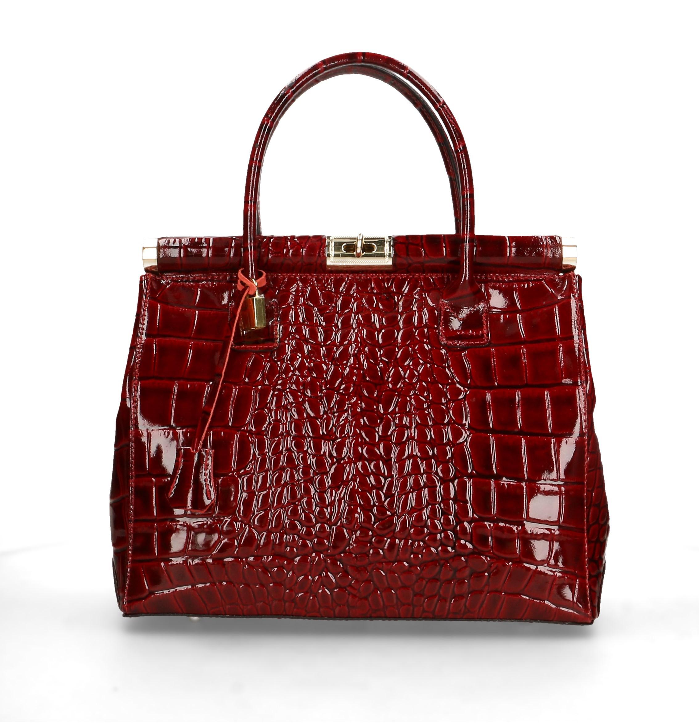 Kožená luxusní bordó kabelka do ruky Nathalie