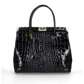 Kožená luxusní tmavě modrá kabelka do ruky Nathalie