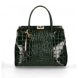Kožená luxusní tmavě zelená kabelka do ruky Nathalie