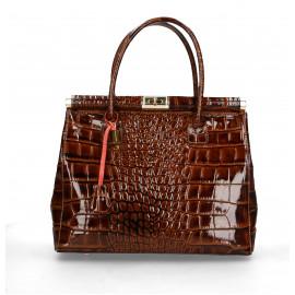 Kožená luxusní hnědá camel kabelka do ruky Nathalie