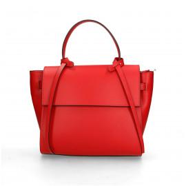 Kožená luxusní menší červená kabelka do ruky Chantal