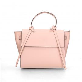 Kožená luxusní menší růžová kabelka do ruky Chantal