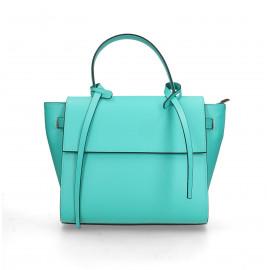 Kožená luxusní menší tyrkysová kabelka do ruky Chantal