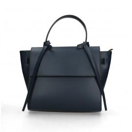 Kožená luxusní menší tmavě modrá kabelka do ruky Chantal