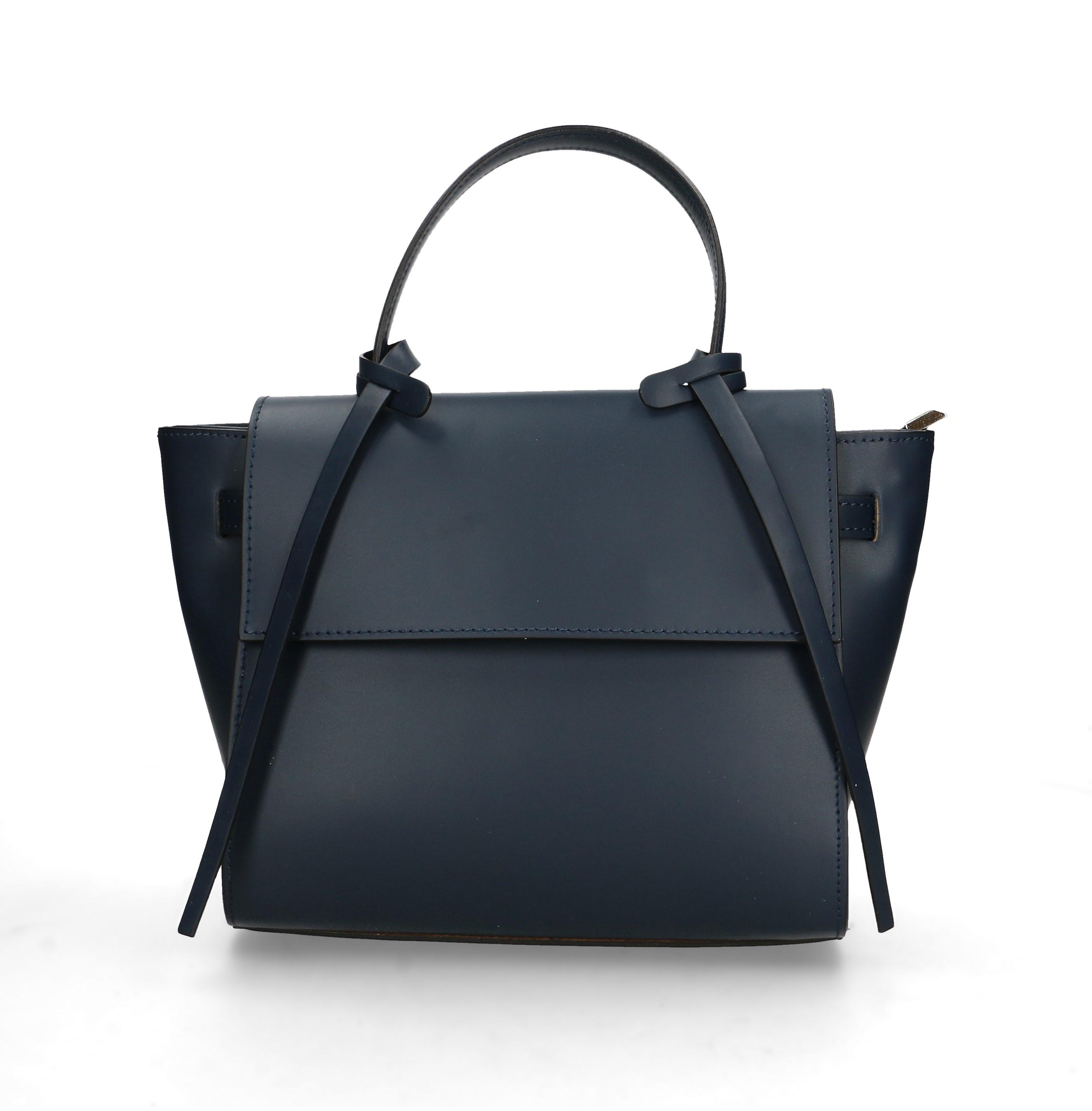 Kožená luxusní menší sytě modrá kabelka do ruky Chantal