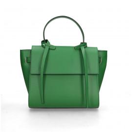Kožená luxusní menší zelená kabelka do ruky Chantal