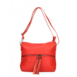Kožená menší sytě červená crossbody kabelka na rameno Annie